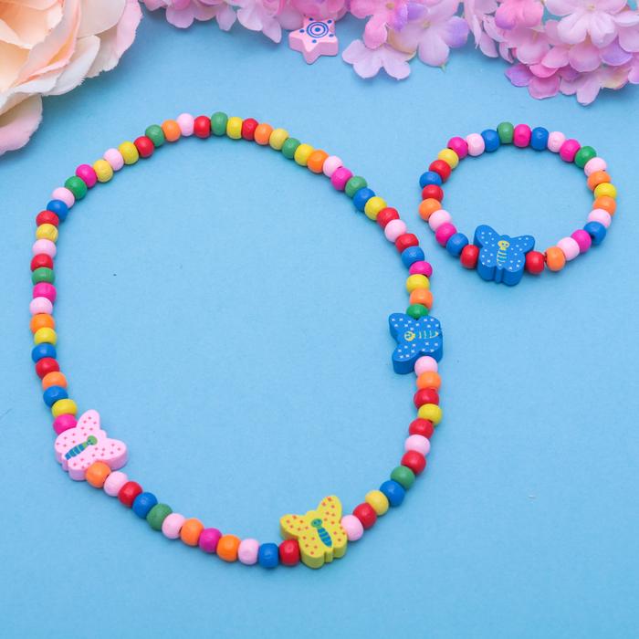 """Набор детский """"Выбражулька"""" 2 предмета: бусы, браслет, бабочки в горох"""