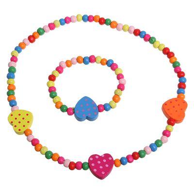 """Набор детский """"Выбражулька"""" 2 предмета: бусы, браслет, сердечки в горох, цвет МИКС"""