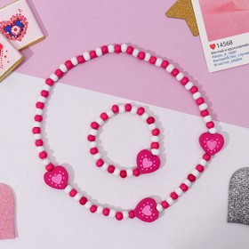 """Набор детский """"Выбражулька"""" 2 предмета: колье, браслет, сердечки полоска, цвет бело-розовый"""