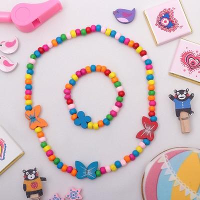 """Children set """"Vibracula"""" 2 pieces: necklace, bracelet, butterfly soft, color white-pink"""