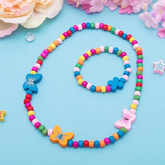 """Набор детский """"Выбражулька"""" 2 предмета: бусы, браслет, бабочки нежность, цвет бело-розовый"""