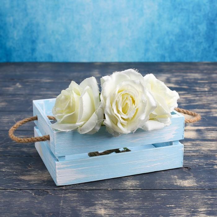 """Кашпо деревянное 20×16×8 см """"Щедрость"""" реечное, ручка верёвка, голубая кисть Дарим Красиво - фото 7432386"""