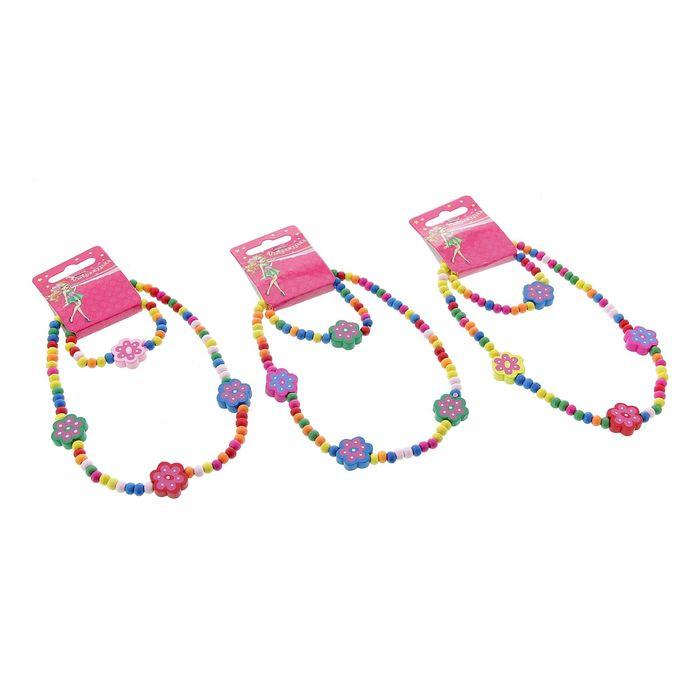 """Набор детский """"Выбражулька"""" 2 предмета: бусы, браслет, цветочки нежные, цвет МИКС"""