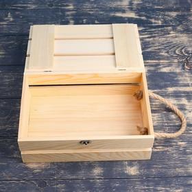 Подарочный ящик 30×20×10 см деревянный с откидной крышкой, с замком, ручка Дарим Красиво - фото 7432389