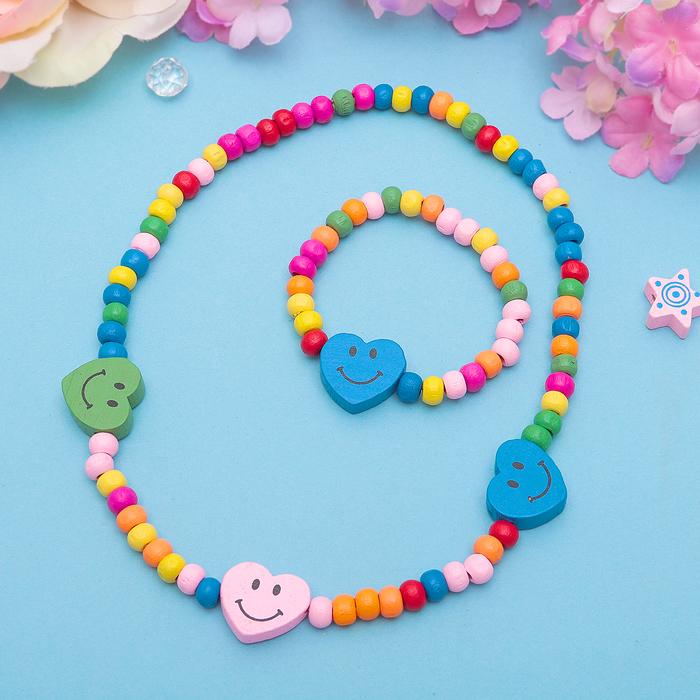 """Набор детский """"Выбражулька"""" 2 предмета: бусы, браслет, смайлики сердце, цвет МИКС"""