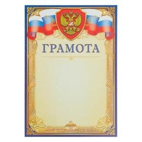 """Грамота """"Универсальная"""" синяя рамка, символика РФ"""