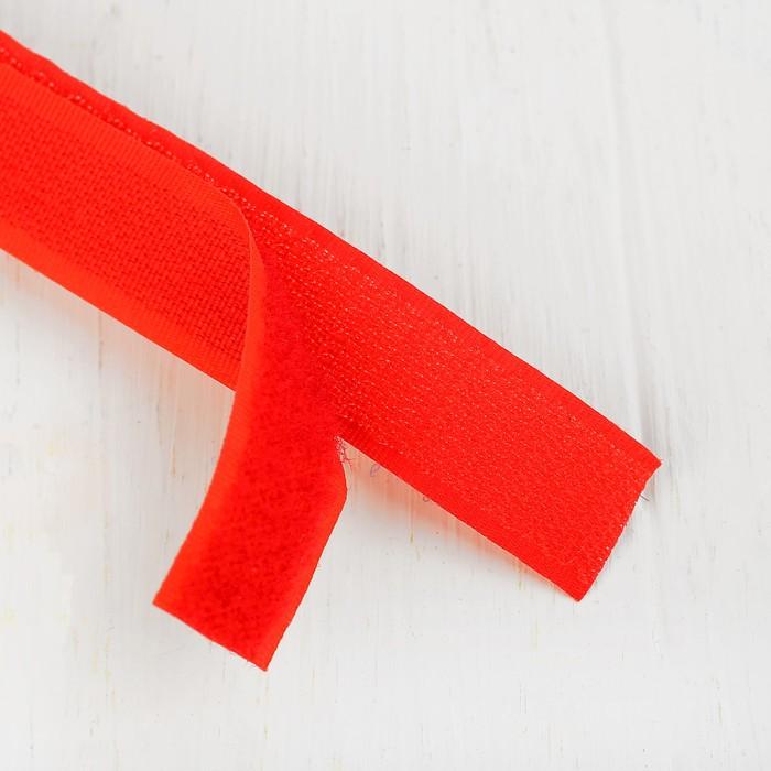 Липучка-лента, длина: 2 метра, ширина: 2,5 см, цвет красный