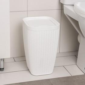 """Контейнер для мусора 10 л """"Вязаное плетение"""", цвет белый - фото 4645556"""