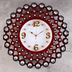 """Wall clock, series: Interior, """"Cascade"""",4 gold numbers, maroon with rhinestone d=45 cm"""