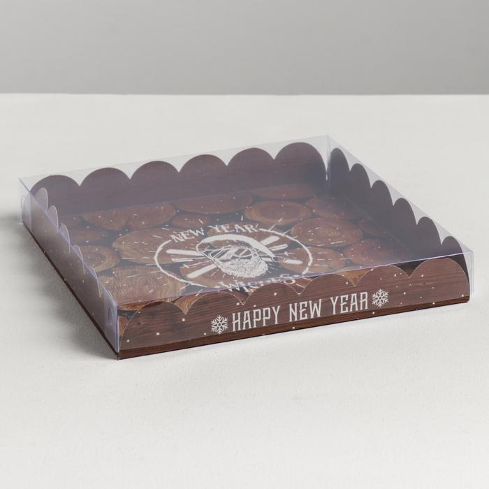 Коробка для кондитерских изделий с PVC крышкой New Year wishes, 21 × 21 × 3 см