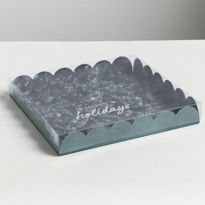 Коробка для кондитерских изделий с PVC крышкой Happy holidays, 21 × 21 × 3 см