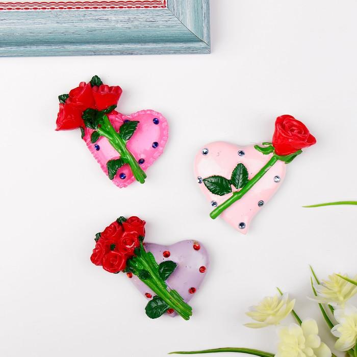 """Магнит """"Сердце с розами"""", МИКС"""