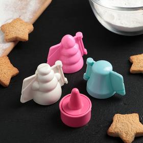 """Набор форм для печенья с начинкой с формой для выдавливания серединки """"Новогодний"""", 3 шт"""