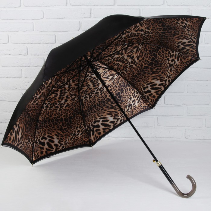 Зонт полуавтоматический «Леопард», 8 спиц, R = 55 см, цвет чёрный/коричневый