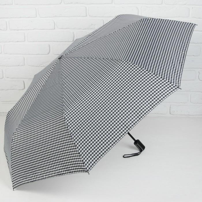 Зонт автоматический «Клетка», 3 сложения, 8 спиц, R = 51 см, цвет тёмно-серый