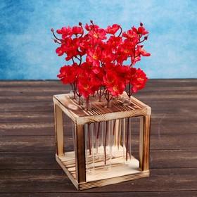 """Кашпо деревянное 15.5×15.5×16.5 см с 9 колбами """"Квадрат"""", обжиг"""