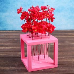 """Кашпо деревянное 15.5×15.5×16.5 см с 9 колбами """"Квадрат"""", розовый светлый"""