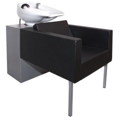 Мойка парикмахерская Домино с глубокой раковиной, цвет чёрный, каркас серый