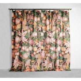 "Set of curtains ""Ethel"" Christmas night 145*260 cm-2 PCs, 100% p/e, 140 g/m2"