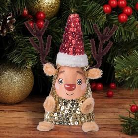 Набор для творчества. Новогодняя игрушка пайетками «Олень» 14 х 6 х 6 см + 2 цвета пайеток, меховые палочки