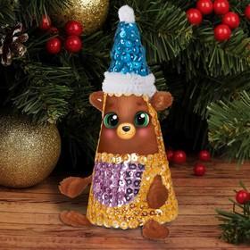 Набор для творчества. Новогодняя игрушка пайетками «Мишка» 14 х 6 х 6 см + 3 цвета пайеток, меховые палочки
