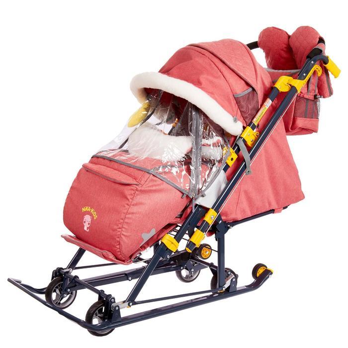 Санки коляска «Ника Детям НД 7-7», дизайн в джинсовом стиле красный, механизм качания - фото 105547703