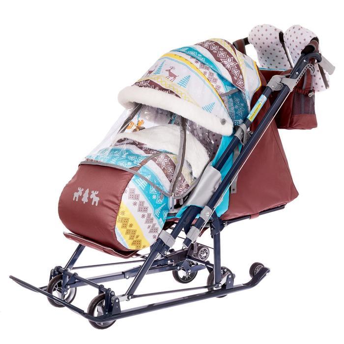 Санки коляска «Ника Детям НД 7-7», принт скандинавский, цвет бирюзовый, механизм качания