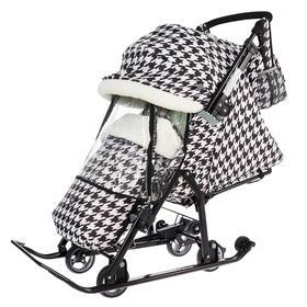 Санки коляска «Ника Детям НД 7-5», принт гусиная лапка