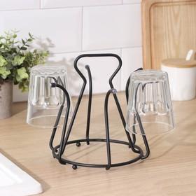 Drying rack for cups 6 hooks 20×20×18 cm, colour black