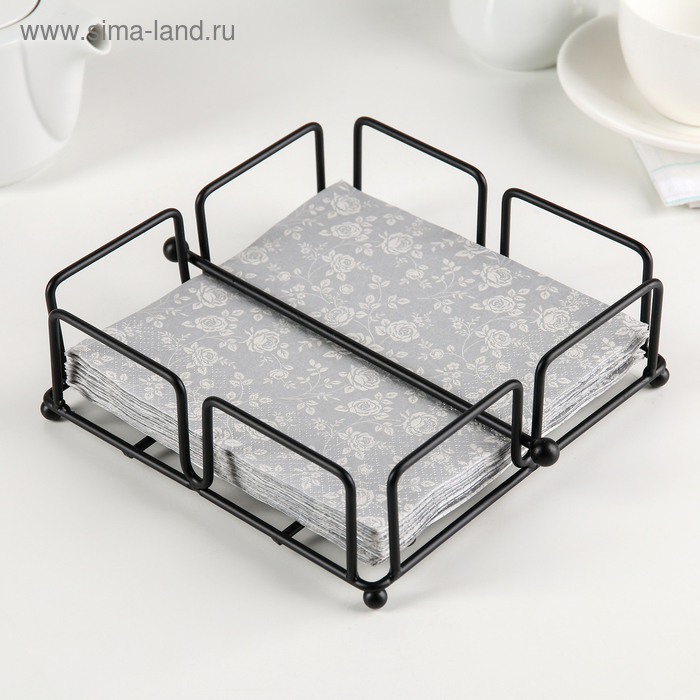 """Napkin holder with holder 18 x 18 x 7 cm """"Devices"""", color black"""