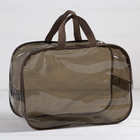 Косметичка-сумочка, отдел на молнии, 2 ручки, цвет коричневый