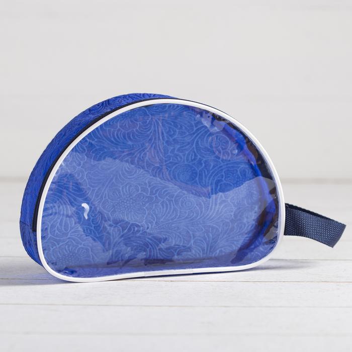 Косметичка ПВХ, отдел на молнии, цвет синий - фото 1770895