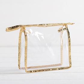 Cosmetic bag PVC zipper Department, color gold/transparent