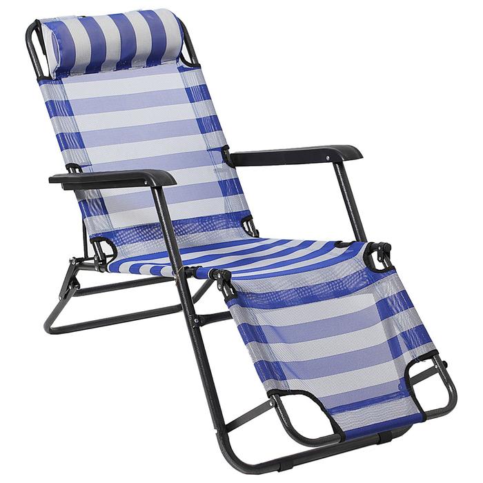 Кресло-шезлонг туристическое с подголовником 153 х 60 х 79 см, цвет белый/голубой