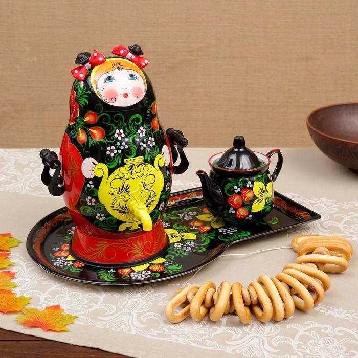 Набор «Матрёшка», 3 предмета, самовар 2,5 л, заварочный чайник 0,7 л, поднос