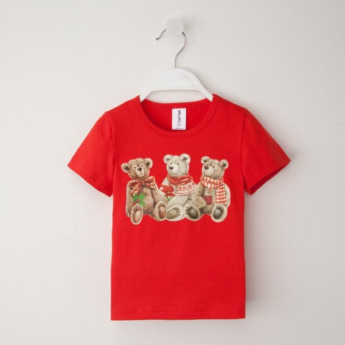 """Футболка """"Медвежата"""", рост 110-116 (32), красный"""