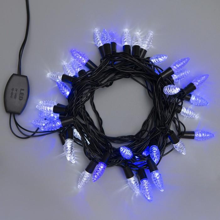 """Гирлянда """"Нить"""" улично-комнатная с насадками """"Растаявший лёд"""" 5 м, LED(IP44)-40-220V, моргает, свечение бело-синее"""