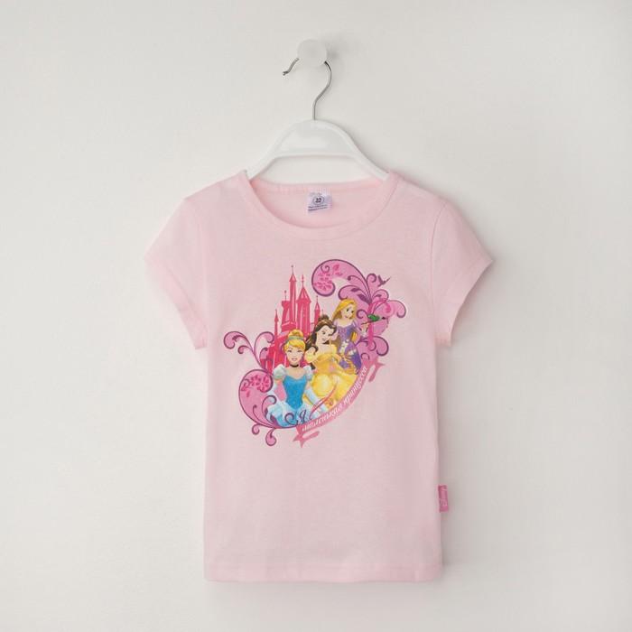 """Футболка DISNEY """"Принцессы"""", рост 110-116 (32), розовый"""