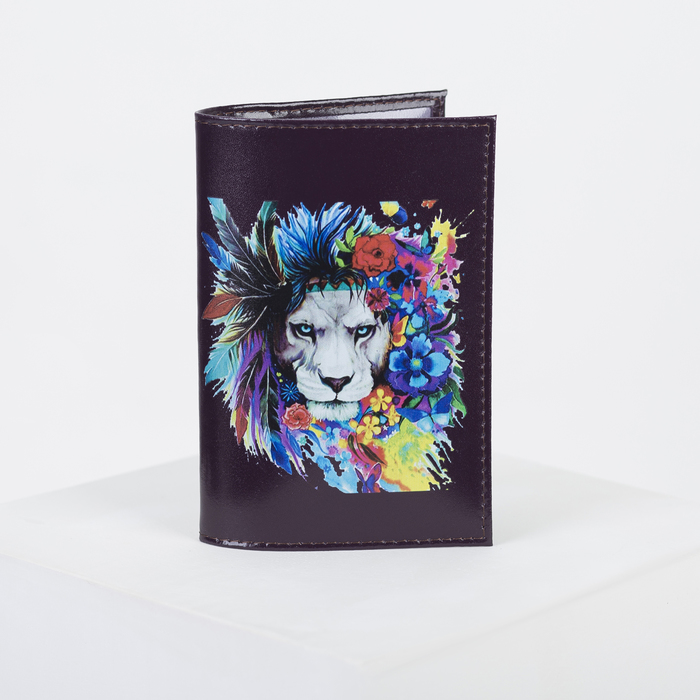 Обложка для паспорта, 9,5*0,3*13,5, принт царь зверей, гладкий бордо