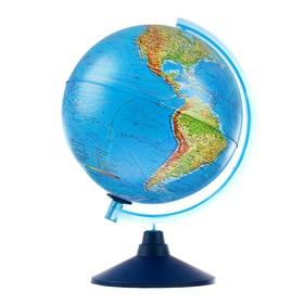 Интерактивный глобус Земли физико-политический, диаметр 250 мм, с подсветкой, с очками
