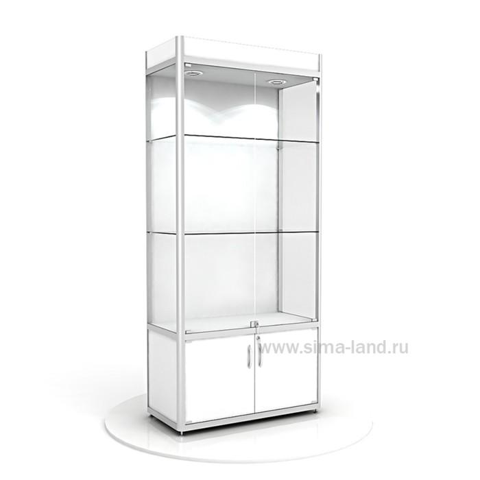 Витрина из профиля, подсветка, стекло,  2000х900х400, цвет белый