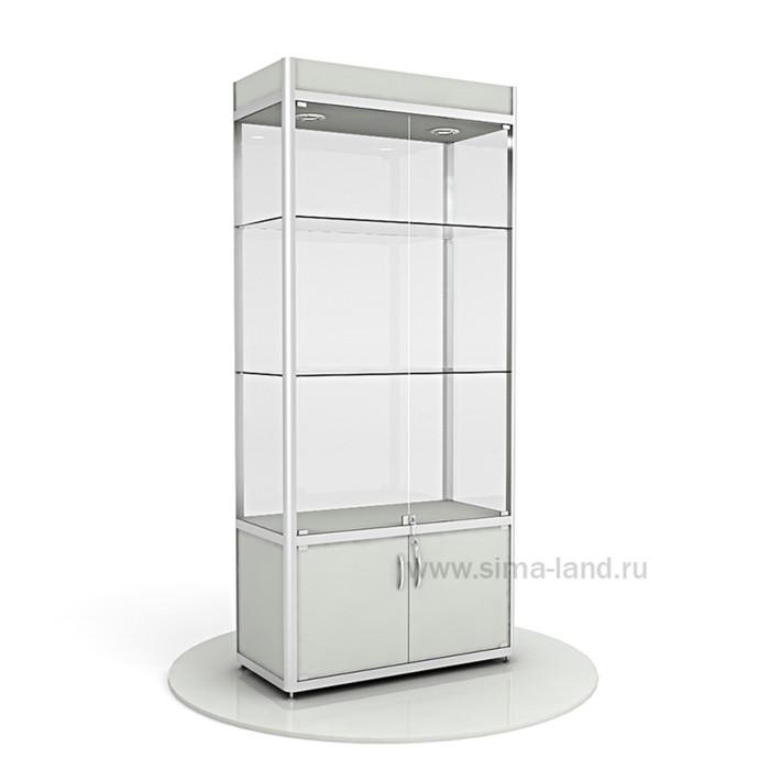Витрина из профиля, подсветка, стекло,2000х900х400, цвет серый
