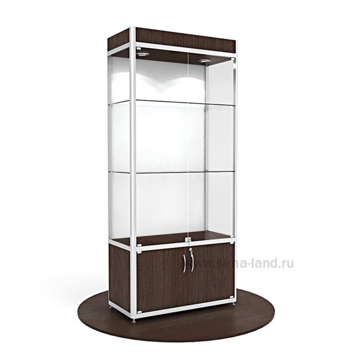 Витрина из профиля, подсветка, стекло,2000х900х400, цвет венге