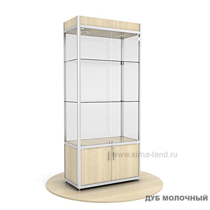 Витрина из профиля, подсветка, стекло,2000х900х400, цвет дуб молочный
