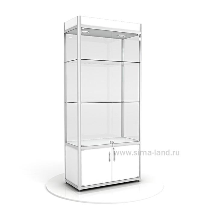 Витрина из профиля, подсветка, ХДФ, 2000х900х400, цвет белый