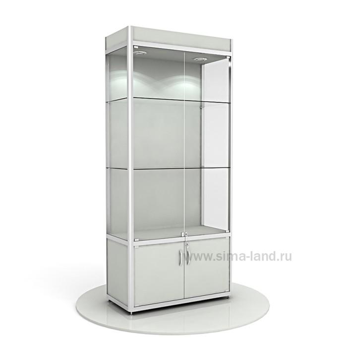 Витрина из профиля, подсветка, ХДФ, 2000х900х400, цвет серый