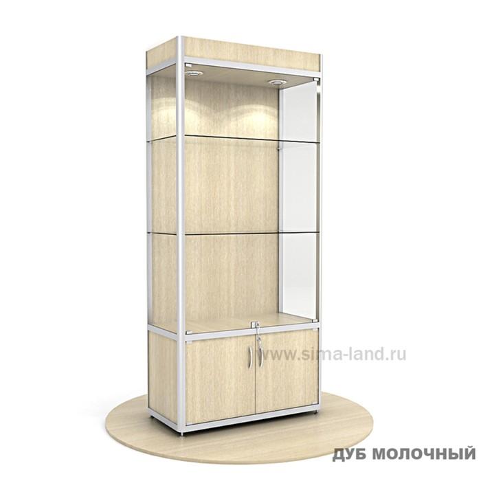 Витрина из профиля, подсветка, ХДФ, 2000х900х400, цвет дуб молочный