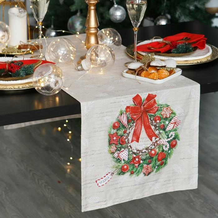 """Дорожка на стол """"Этель"""" Новогоднее настроение 40х147 см, 100% хл, саржа 190 гр/м2"""