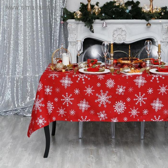 "Tablecloth ""Share"" snowflakes 220х149 cm, 100% cotton, 164 g/m2"