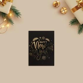 Открытка-комплимент Happy New Year золото, 8 × 6 см Ош